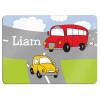 leuke placemat met auto en bus en de naam van het kind