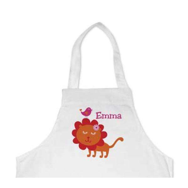 leuk kinderschort met naam en leeuw - cool apron with lion and name of the kid