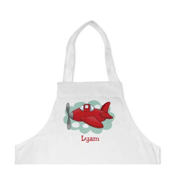 leuk kinderschort met naam en vliegtuig - cool apron with plain and name of the kid