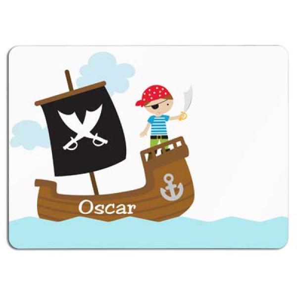 leuke placemat met piraat en de naam van het kind